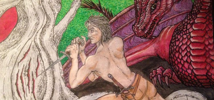 Daemon Targaryen and his Dragon Caraxes in front of the Heart Tree in Harrenhal