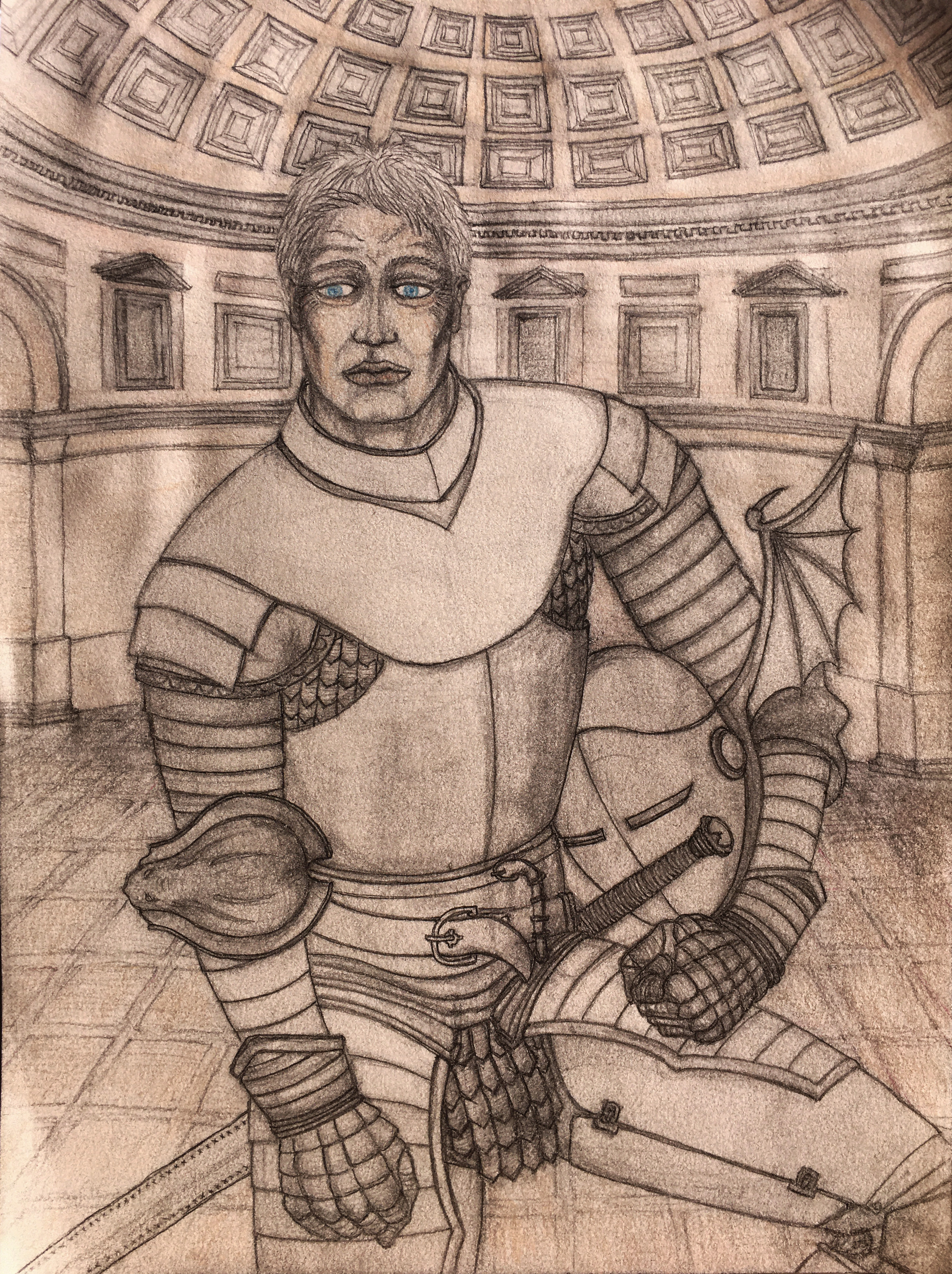 Ser Barristan Selmy in his Kinsguard armour with dragon wings helmet
